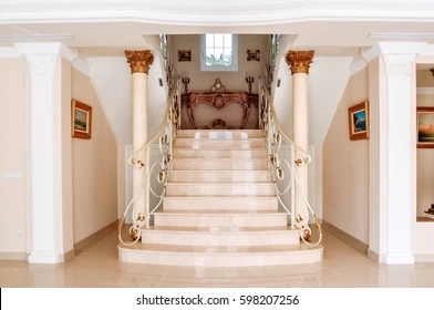 Contemporary Staircase Stock Photos Images Photography | Interior Steps Design For Hall | Modern Drawing Room Tv Cabinet | Decorative | Architecture | Half Circle Staircase | Model House Hall