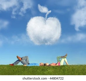 Cloud Apple Images  Stock Photos   Vectors   Shutterstock lying couple on grass and dream apple collage
