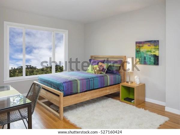 https www shutterstock com image photo modern teenager kids bedroom rug working 527160424