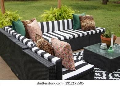 https www shutterstock com image photo outdoor lawn furniture black white crisply 1312195505