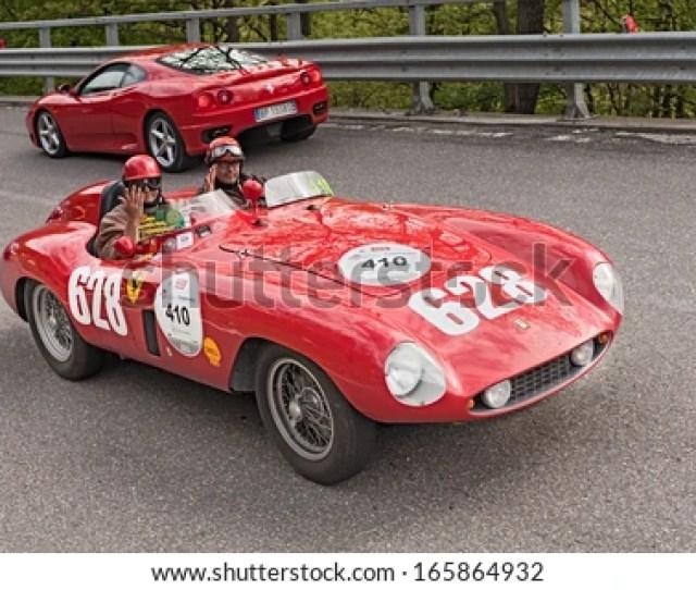 Passo Della Futa Fi Italy May 18 Unidentified Drivers On A