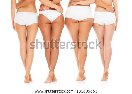 A Picture Of Four Sexy Female Butts Over White Background