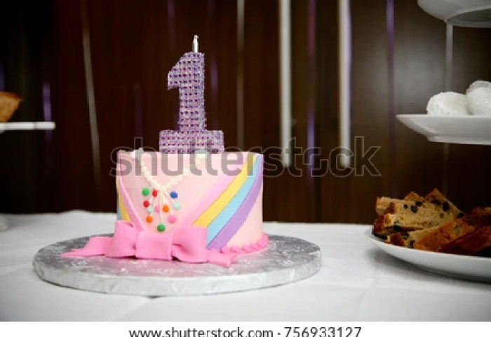Pink Birthday Cake Baby Girls 1st Stock Photo Edit Now 756933127