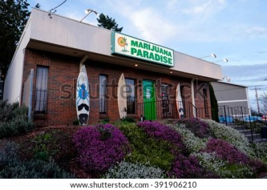 PORTLAND, OR - FEBRUARY 27, 2016: Marijuana Paradise a pot dispensary in Portland Oregon part of a string of retail drug stores that have popped up when Oregon passed a law to legalize marijuana.
