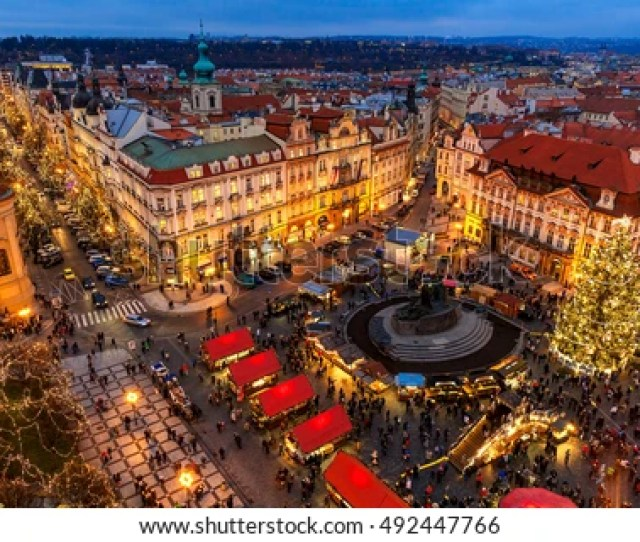 Prague Czech Republic December 10 2015 View From Above On Traditional Christmas
