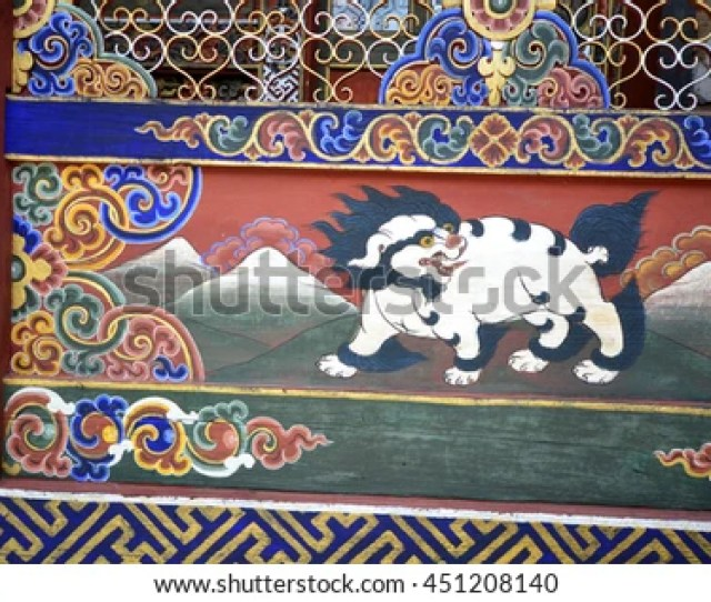 Punakha Bhutan August   Traditional Bhutanese Wall Painting In A Temple