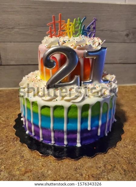 Rainbow Birthday Cake 21 Year Old Stock Photo Edit Now 1576343326