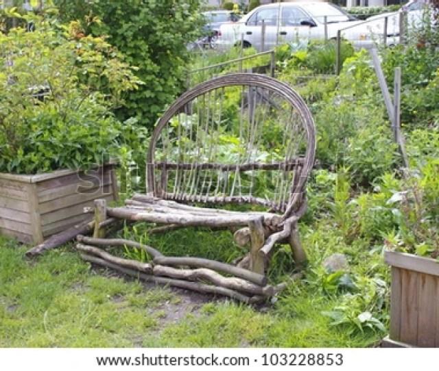 A Rough Homemade Bench Stands In A Public City Garden Homemade Bench A