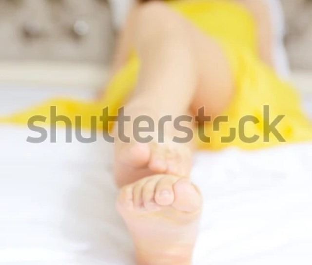 Sexy Asian Girls Lying Bed Feet Stock Photo Edit Now