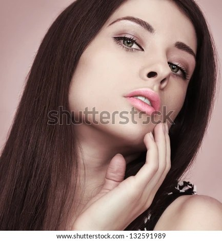 Sexy Beautiful Woman Looking Hot With Hand Touching Face