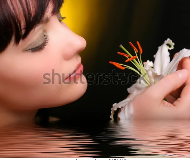Sexy Brunette White Lily Flowers Water People Beauty Fashion