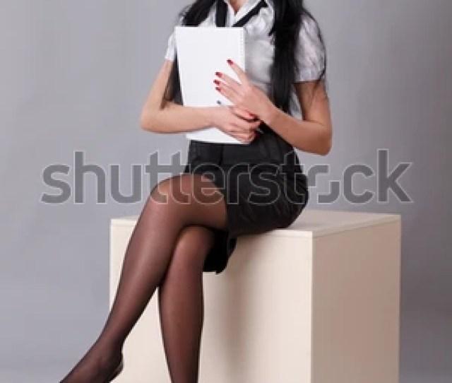 Sexy Secretary Isolated On Gray