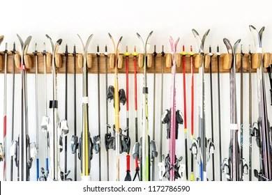 https www shutterstock com image photo ski hanged on customized wooden wall 1172786590