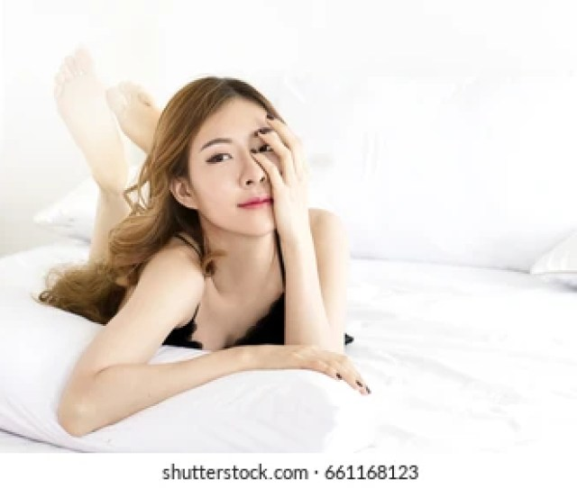 Sleepy Girl Beautiful Asian Woman In Black Sexy Nightwear Sitting In Bedroom Korean Woman