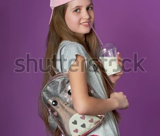 Sporty Pretty Teen Girl Loves Sports Girl Drinks Smoothies Sports Fashion Happy Girl In