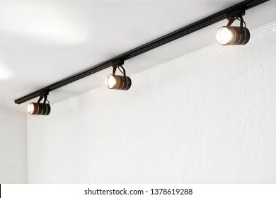 https www shutterstock com image photo spotlights under ceiling on wall track 1378619288