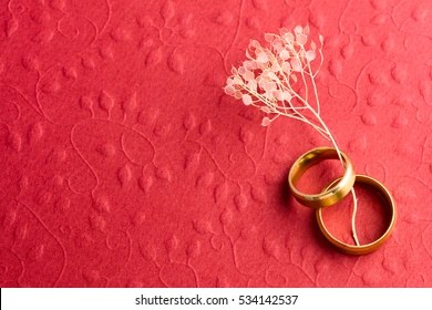 https www shutterstock com image photo stylish red wedding background two rings 534142537