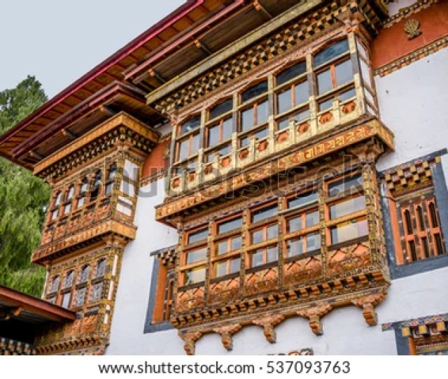 Talo Goemba Monastery Of Bhutanese Temple Decorated With Colorful Pattern On Wooden Frame Of Windows