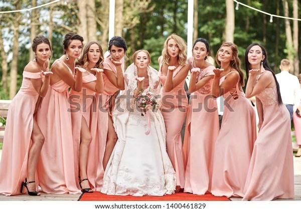 Wedding Day Beautiful Bride Bridesmaids Posing Stock Photo Edit Now 1400461829