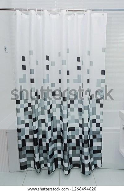 https www shutterstock com image photo white bathroom black shower curtain 1266494620
