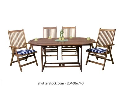 https www shutterstock com image photo wooden garden furniture coffee cups end 204686740
