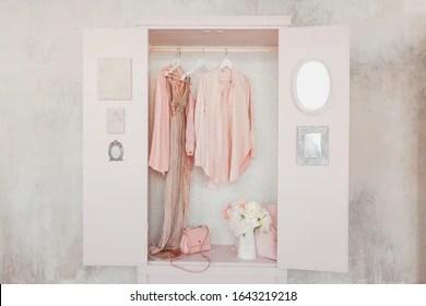 https www shutterstock com image photo wooden pink wardrobe clothes open doors 1643219218