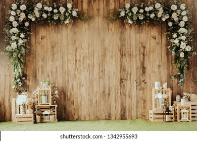 https www shutterstock com image photo wooden wall decorated flower daybrown wood 1342955693