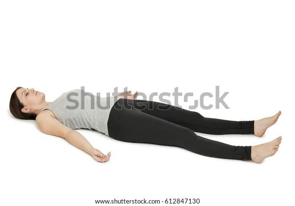 Yoga woman gray_shavasana