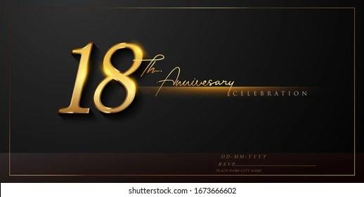 https www shutterstock com image vector 18th anniversary celebration logotype handwriting golden 1673666602