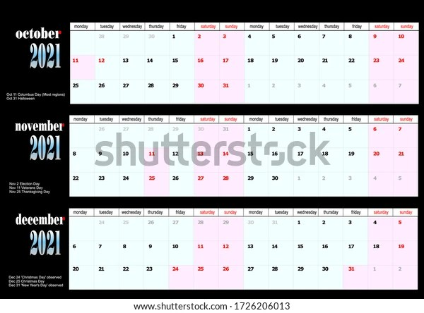 2021 Calendar American Holidays October November Stock Vector Royalty Free 1726206013