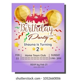 https www shutterstock com image vector 2nd birthday party invitation card delicious 1052660006