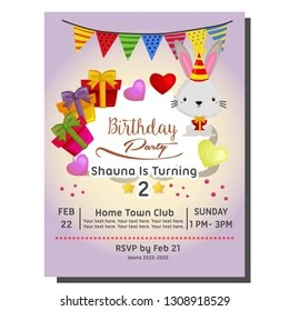 https www shutterstock com image vector 2nd birthday party invitation card rabbit 1308918529