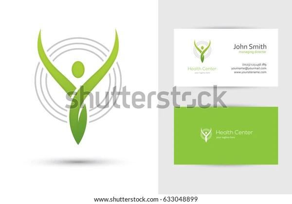 Abstract Green Human Logo Business Card Stock Vector