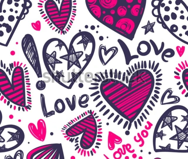 Abstract Seamless Love Pattern Valentines Day Wrapping Paper Girlish Repeated Backdrop With Hearts