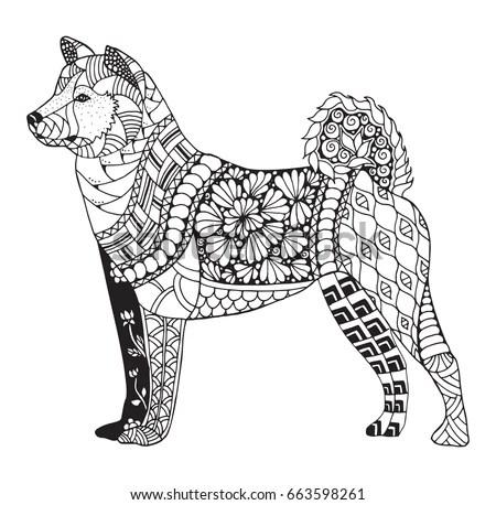 Akita Dog Zentangle Stylized Vector Illustration Stock
