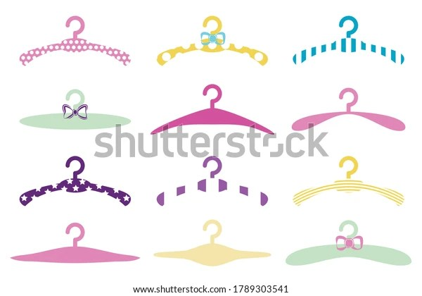 https www shutterstock com image vector baby clothes hanger icons set child 1789303541