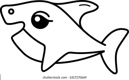 Baby Shark Icon Outline Style Coloring Stock Vector Royalty Free 1457270669