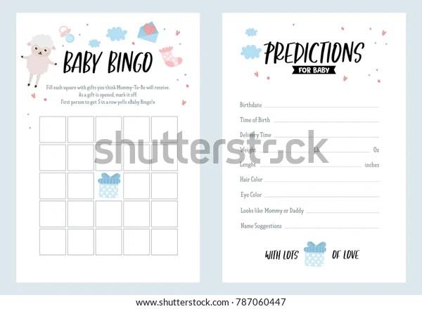 Baby Shower Bingo Predictions Template Hand Holidays Stock