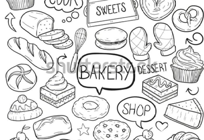 Bakery Shop Food Doodle Vector Art Stock Vector Royalty Free