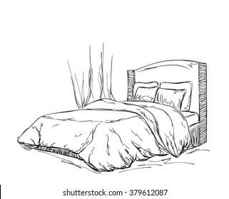 https www shutterstock com image vector bedroom modern interior sketch 379612087