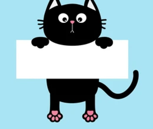 Black Funny Cat Hanging On Paper Board Template Kitten Body With Paw Print Tail