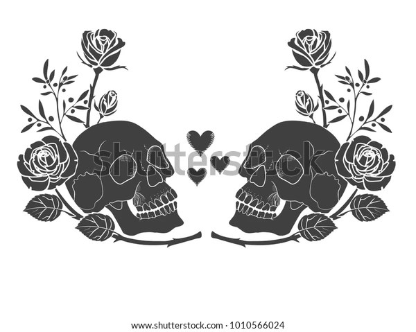 Black Silhouette Human Skull Roses Tattoo Stock Vector Royalty Free 1010566024