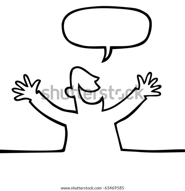 https www shutterstock com fr image vector black white drawing happy person open 63469585