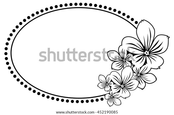 Black White Oval Frame Abstract Flowers Stock Vector Royalty Free 452190085