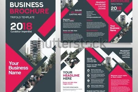 Business Brochure Template Tri Fold Layout Stock Vector  Royalty     Business Brochure Template in Tri Fold Layout  Corporate Design Leaflet  with replacable image