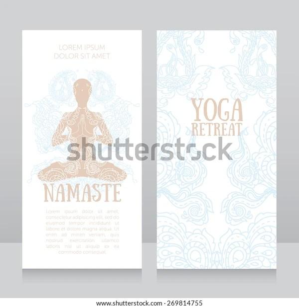 Business Cards Template Yoga Retreat Yoga Stock Vector