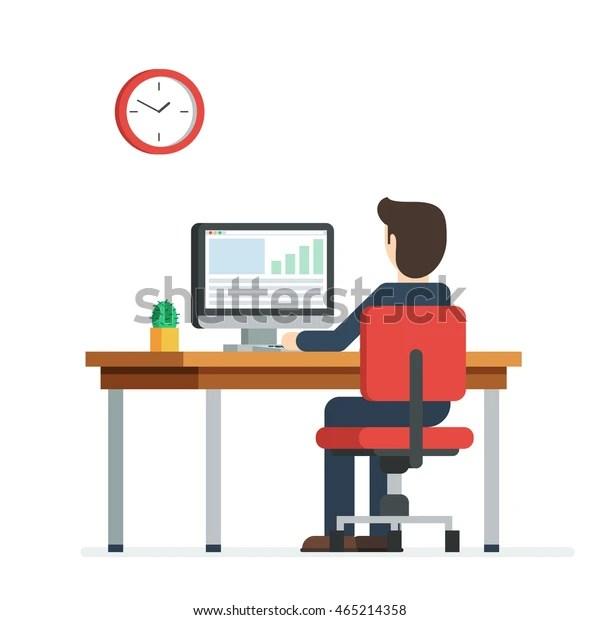 https www shutterstock com fr image vector business person working on computer businessman 465214358