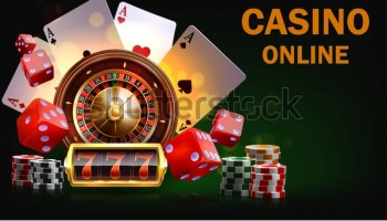 Casino Illustration with roulette wheel and playing chips. Vector gambling design with poker cards and dices for invitation or promo banner.Online casino.Layered illustration.