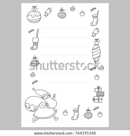 christmas coloring page wish list stock vector royalty