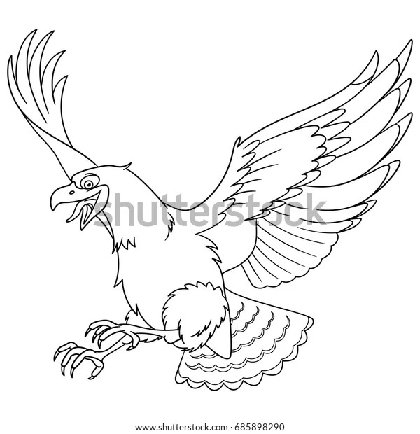 coloring page cartoon eagle bird hawk stock vector